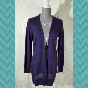 Ellen Tracy Merino Wool Mesh Knit Open Cardigan